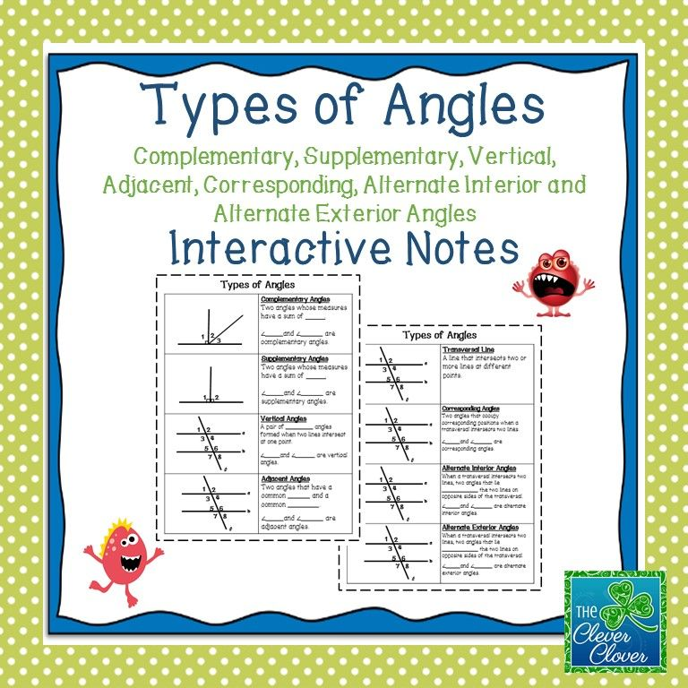 Parallel Lines, Transversals and Angles Notes and