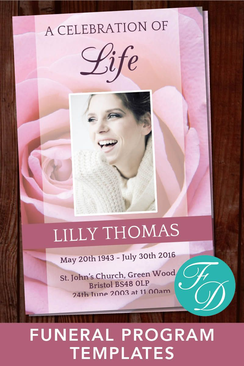 Pink Rose Funeral Program Template Ready To Edit Print Simply