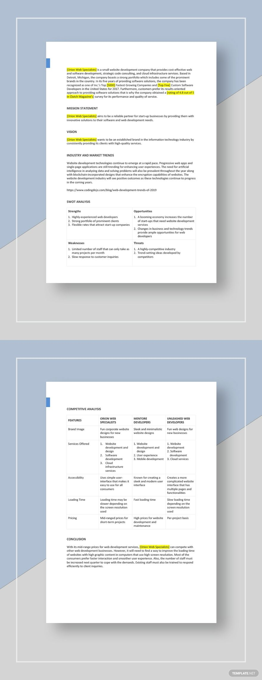 Small Business Competitive Analysis Template Word (DOC