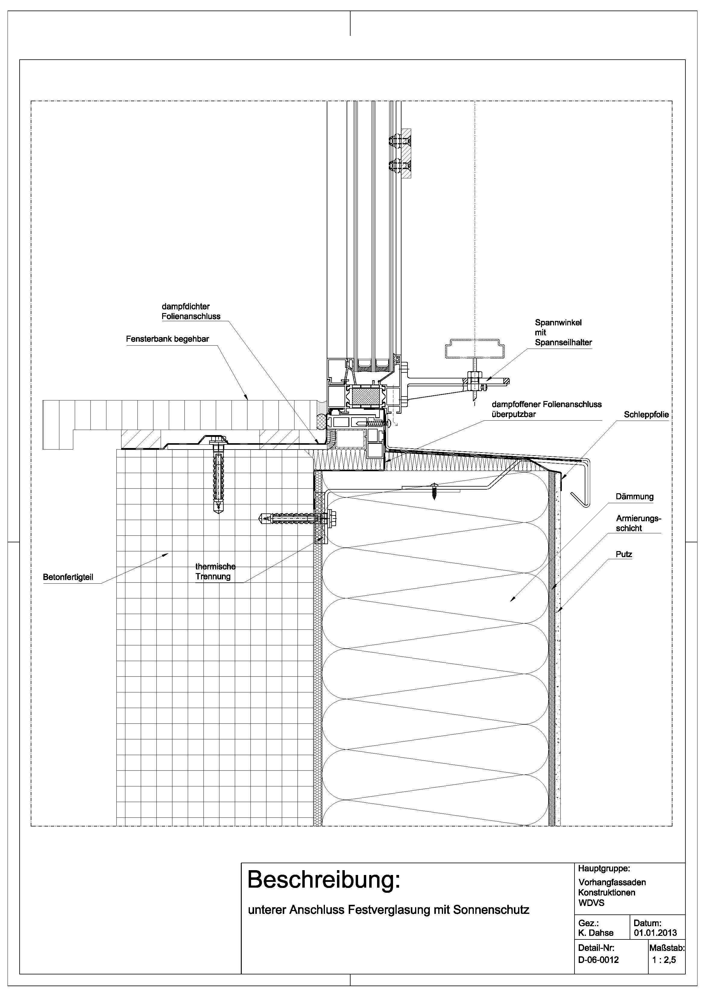 d 06 0012 unterer anschluss festverglasung mit sonnenschutz architectural drawings models. Black Bedroom Furniture Sets. Home Design Ideas