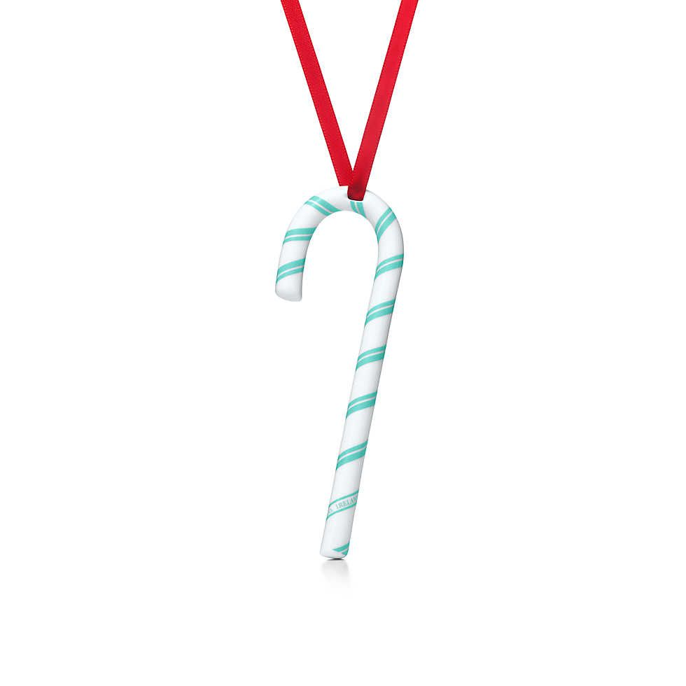 Candy cane ornament in bone china with Tiffany Blue accents