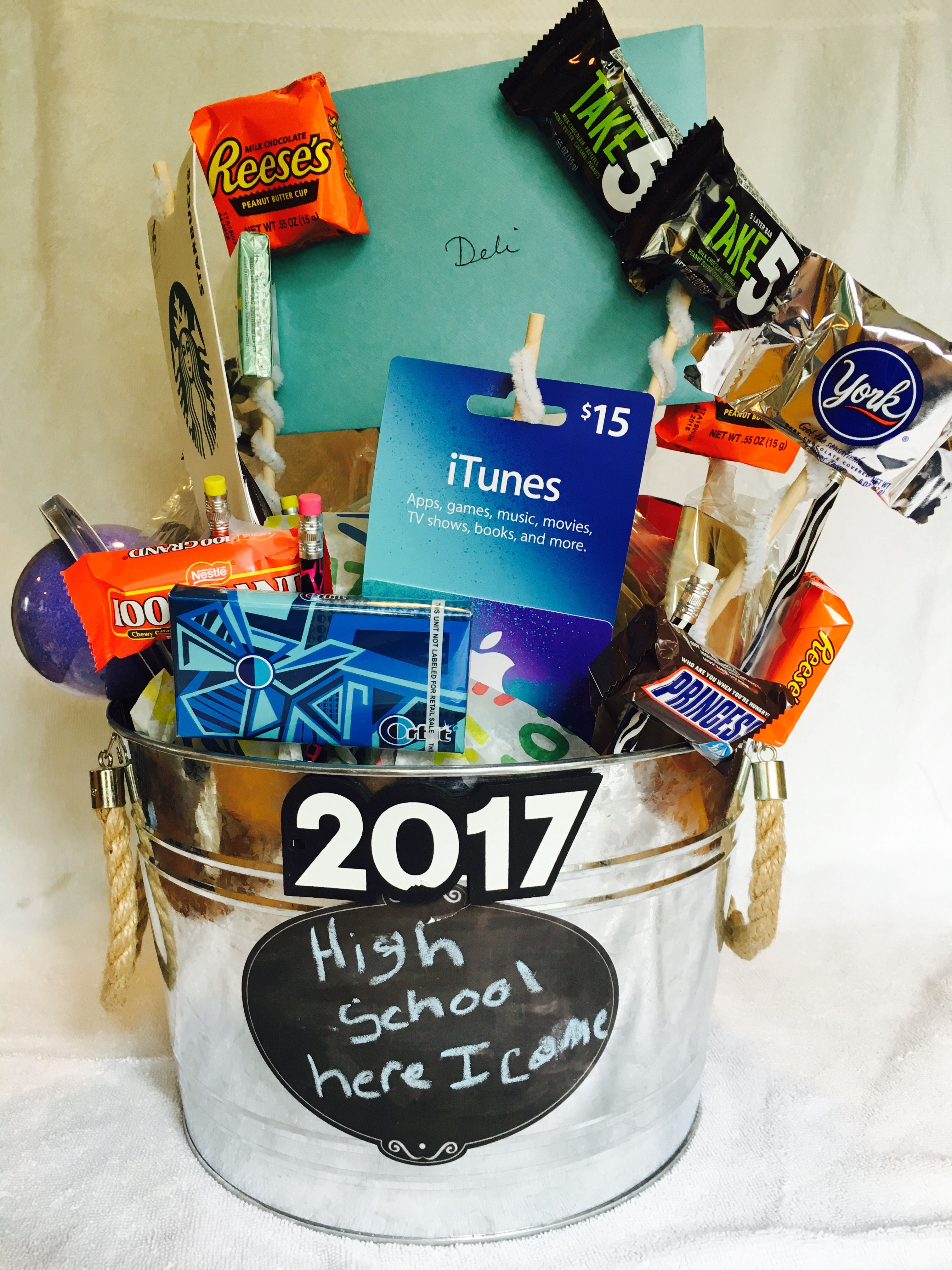 A bucket full of awesome treats for a middle school