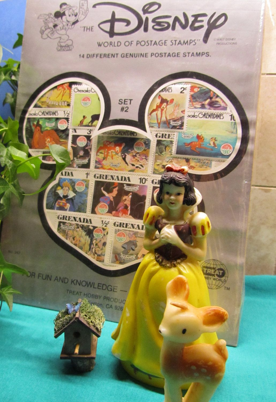 Vintage 80s Disney Snow White and Bambi Postage Stamp