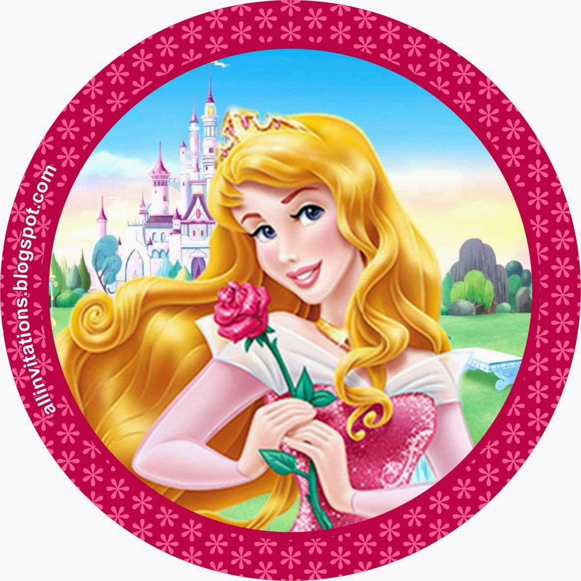 Etiqueta Boton Princesa Aurora | Festa Bela Adormecida e