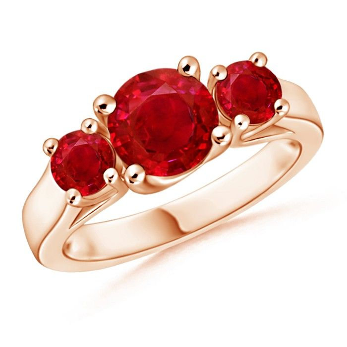 Angara Four Prong Natural Ruby Solitaire Wedding Ring in Yellow Gold d5Sx22