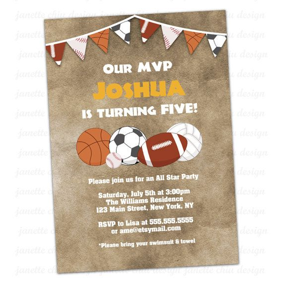 Sports Birthday Party Invitation Digital By JanetteChiuDesign 1500