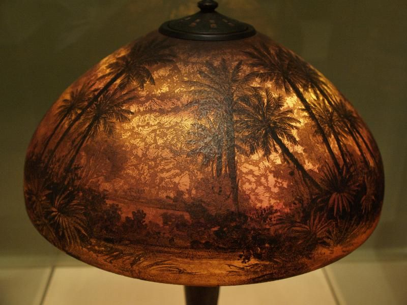 Description Richmond Virginia Va Museum Of Fine Arts Sunset Palm Tree Lampshade C 1916 Handel Lamp Company Decorated By Gustav Leohner
