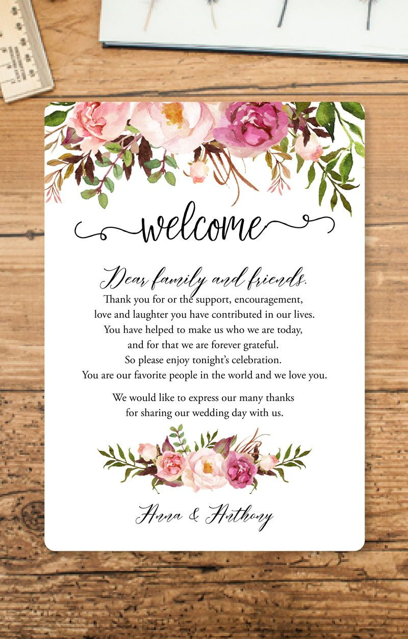 boho welcome note dusty rose flowers wedding itinerary