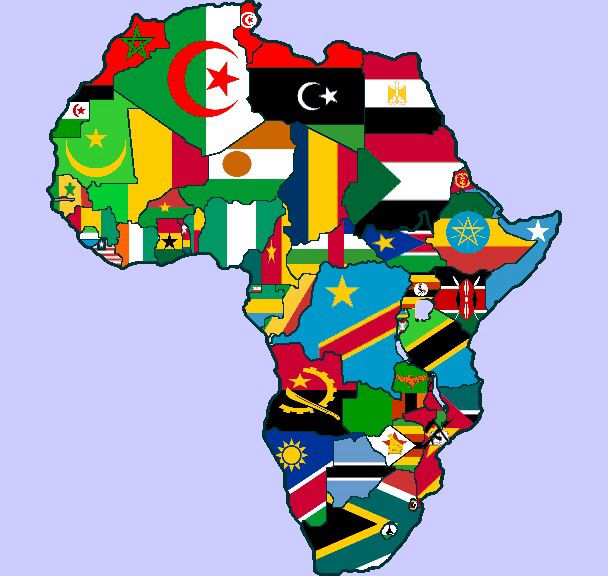 Charming Map Of Africa By Flags