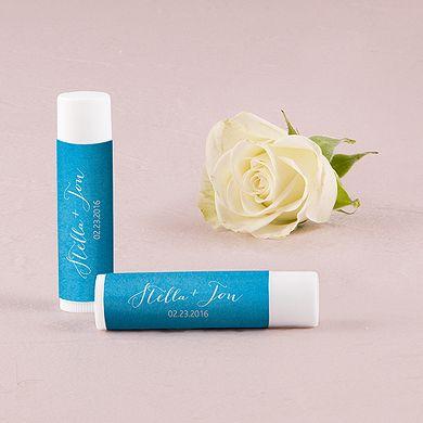 """Aqueous"" Personalized Wedding Lip Balms"