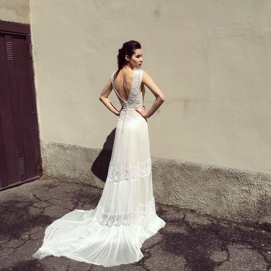Long train vintage lace wedding dresses   Emanuel by FLORA   Open ...