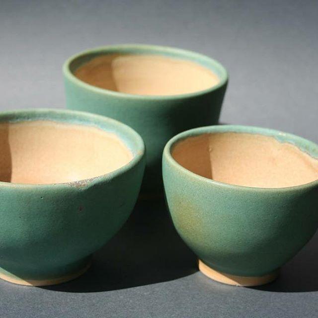 Three tea bowls, stoneware, green matt glaze, fired to cone 6. #pottery #handmade #cone #6 #stoneware #wheel #thrown #ceramics #turquoise #tea #bowl #esmalte #cerámica #Rubi #Birden