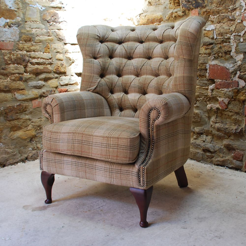 Tudor 100% Wool Tweed Button Back Chesterfield Armchair In Tartan Fabrics  At Curiosity Interiors.