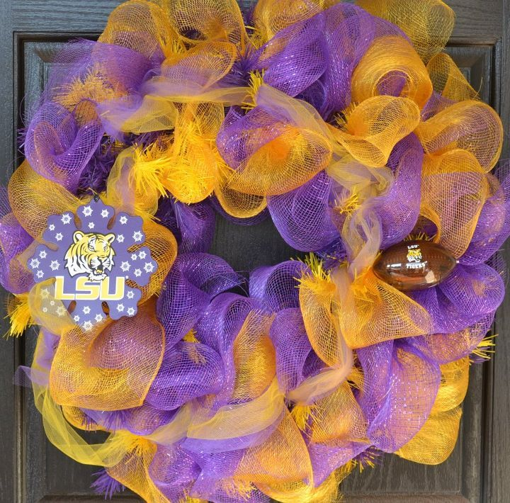 For Sale - LSU Deco Mesh Wreath (Football Lights Up) - $50 - Check this and other wreaths out at   http://www.facebook.com/DecoMeshWreath