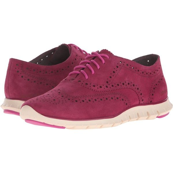 Womens Shoes Cole Haan Zerogrand Wing Oxford Beet Red Suede/Ivory