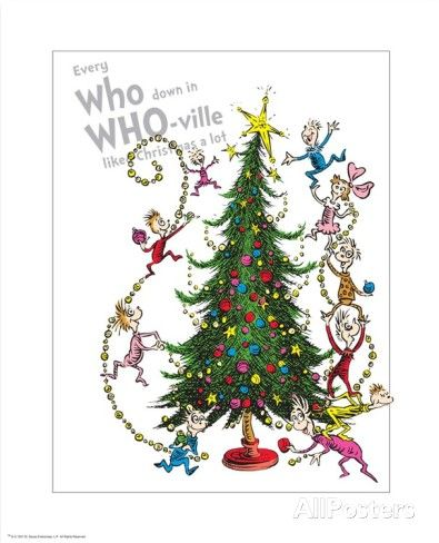 The Grinch Christmas Tree Movie.Christmas In Whoville Prints By Theodor Dr Seuss Geisel