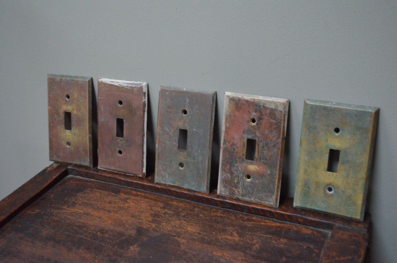 Vintage Brass Light Switch Plate Front Art Deco 1920/'s Architectural Antique