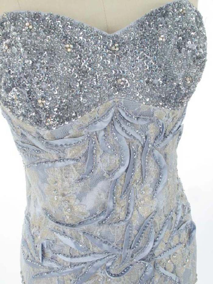 40s Inspired Old Hollywood Glam Silver Satin Sequined Lace Gown