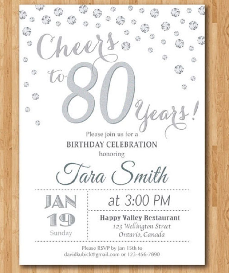 80th Birthday Invitations Templates Free Party Invitation Card In