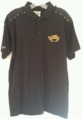 Blac Label Premium Men's Polo w/Patches & Studs Sz L Graphic Shirt PLAYING CARDS