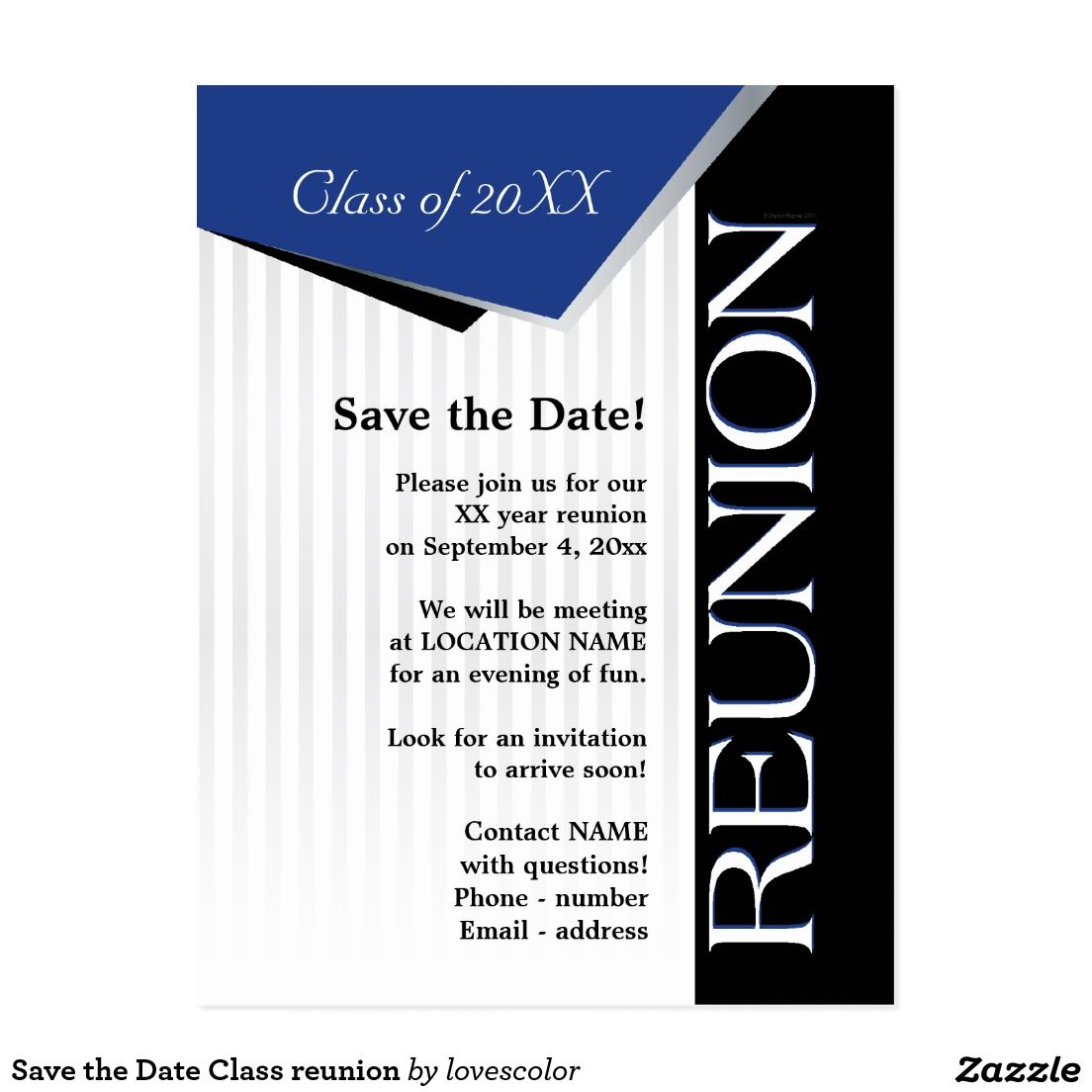 Save The Date Class Reunion Announcement Postcard Zazzle Com Class Reunion Class Reunion Invitations Reunion Invitations