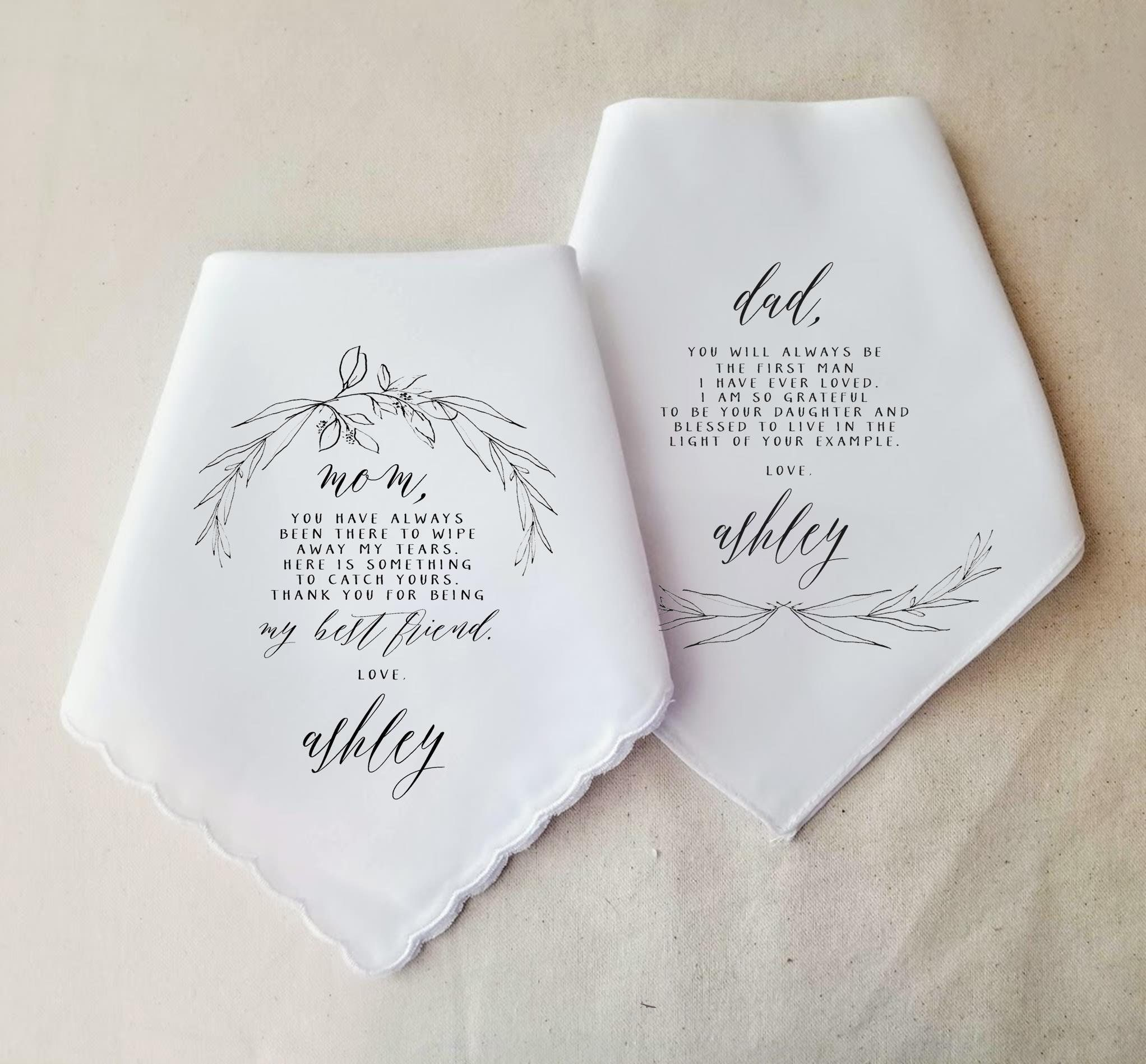 Wedding Gift To Parents From Daughter Wedding Handkerchief Etsy In 2020 Wedding Gifts For Parents Wedding Handkerchief Personalized Handkerchiefs
