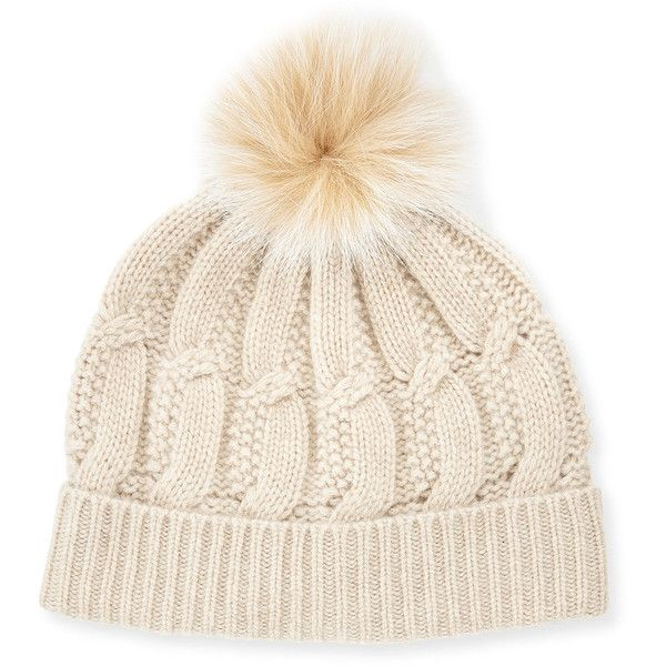 76f7bb7bff6 ... Rag Bone Beige Fur Pom Pom Cynthia Beanie. Sofia Cashmere Cable-Knit  Cashmere Fur-Pom Beanie Hat ( 125) ❤ liked on Polyvore featuring  accessories