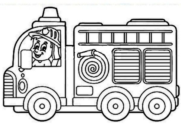 Coloriage camion de pompier au feu les pompiers - Image camion pompier ...