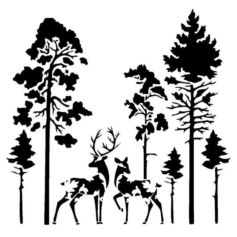 Vintage Deers In Forest Stencil Animal Stencil Wood
