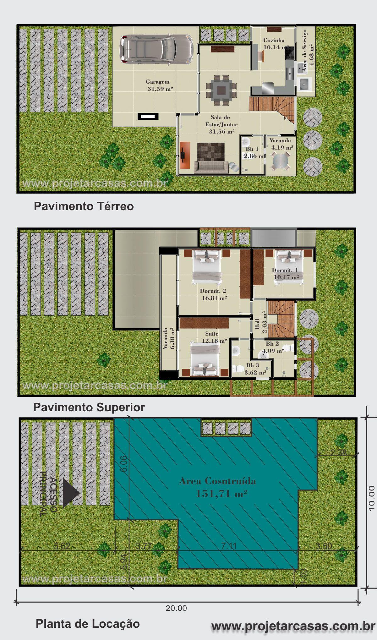 Projetarcasas Planta De Casas Planta Sobrado 3 Quartos 1 Su Te