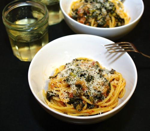 Spaghetti with Tomato-Braised Kale