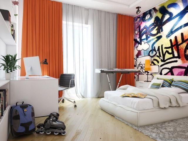 Wandgestaltung jugendzimmer junge fototapete graphitti for Weisse mobel jugendzimmer
