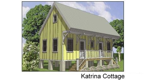 building plans single family katrina cottage 2 bedrooms with potential living loft up - Katrina Cottage Plans