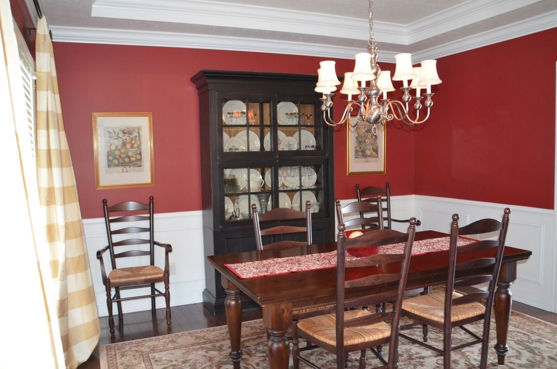 Red dining room w white trim. Sherwin Williams STOLEN KISS. Palumbo ...