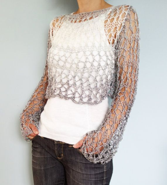 Sweater Knitting PATTERN- Shades of Grey Cropped Top, Loose Ombre ...