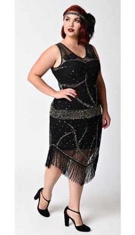 e28dbe26d5ce Unique Vintage Plus Size 1920s Black & Gold Beaded Aurora Flapper Dress