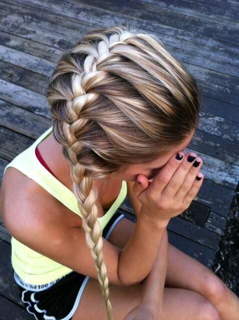 horizontal french braid...cute for sports or work out