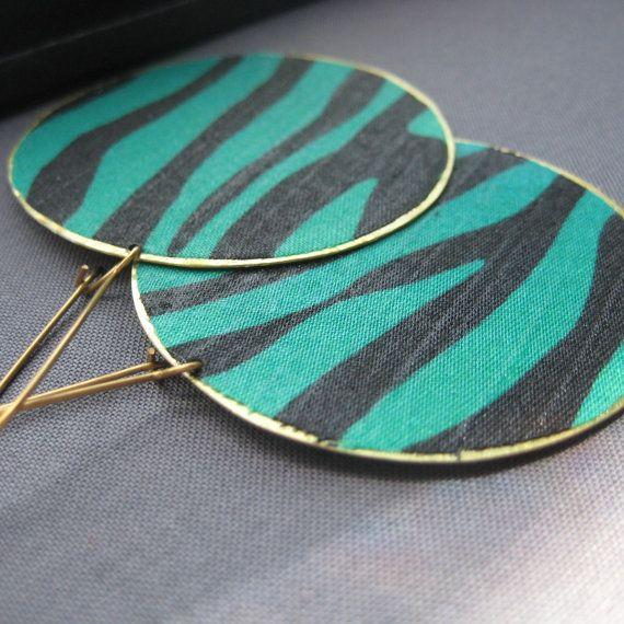 turquoise and black zebra stripe earrings by Aunjanue on Etsy