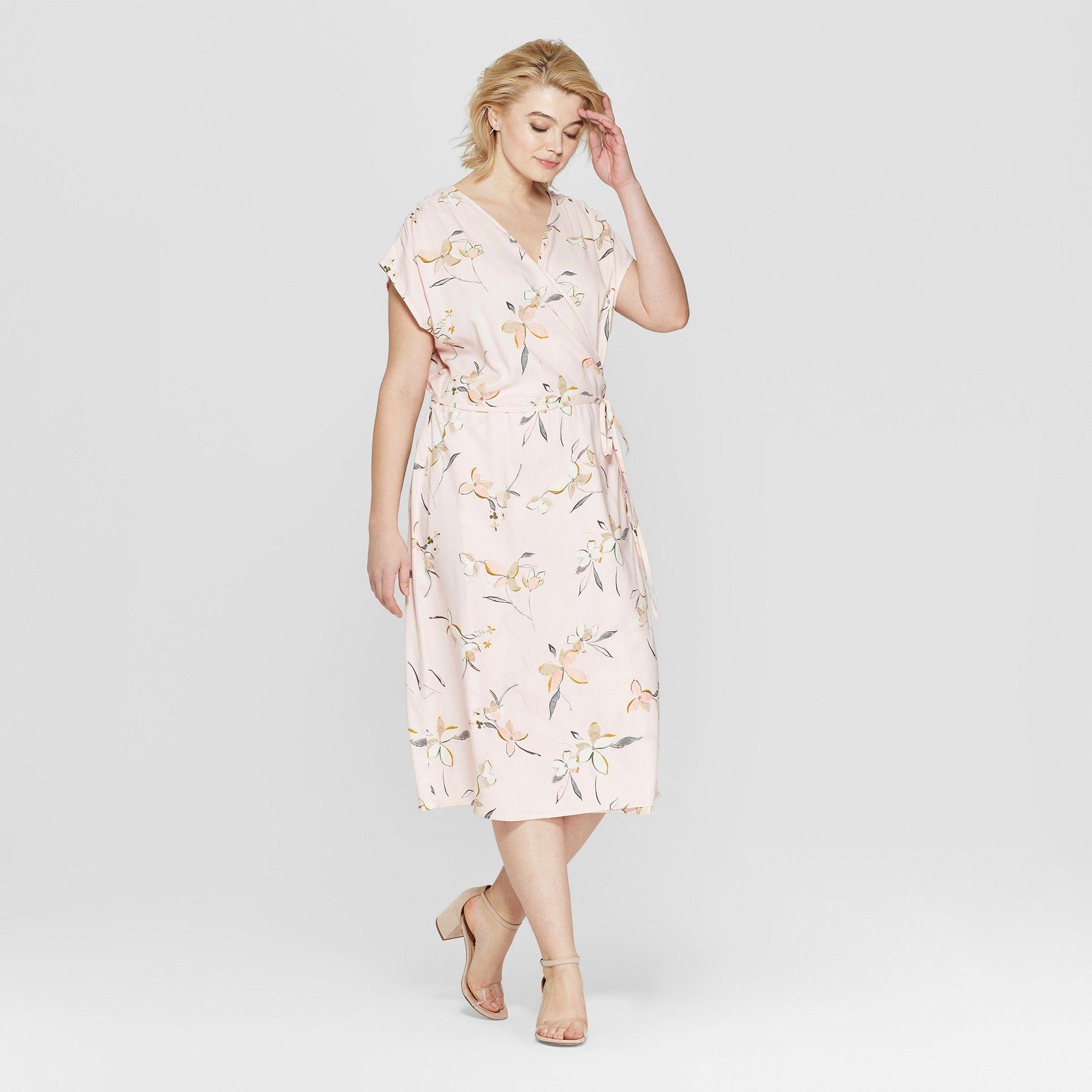Women's Plus Size Floral Print Short Sleeve Wrap Midi Dress