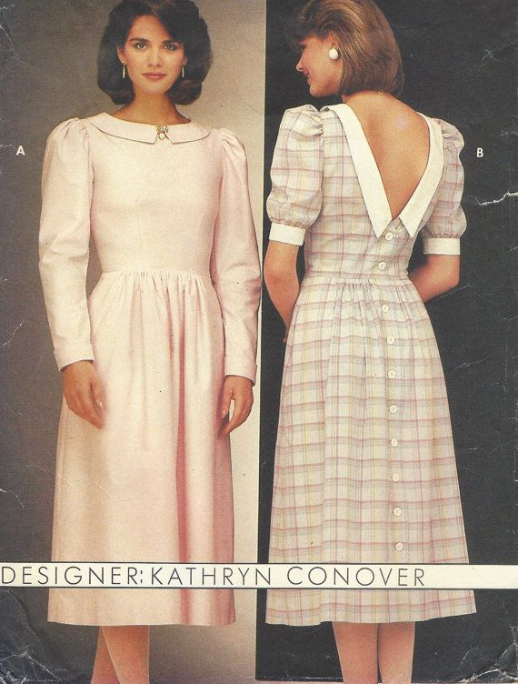 80s Kathryn Conover Womens Back Buttoned Dress Garden Party ...