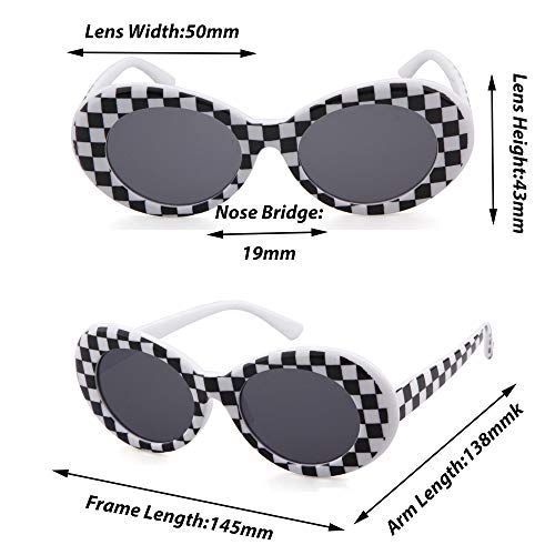 Clout goggles oval sunglasses mod retro thick frame kurt cobain inspired sunglasses with round lens vintage checkered 51