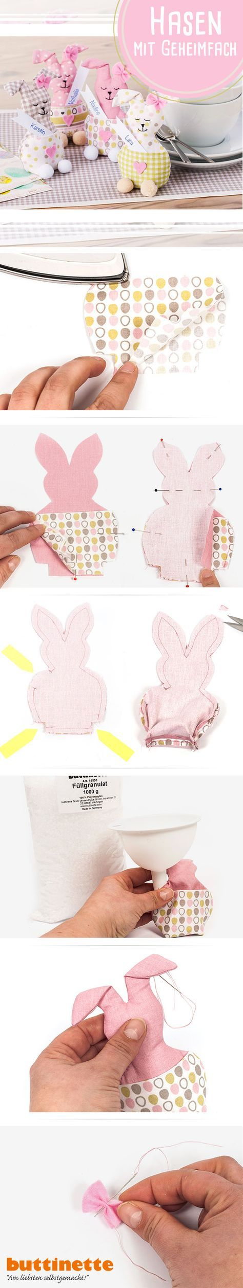 Photo of Sewing instructions: Small Easter bunnies as table decorations with a secret compartment