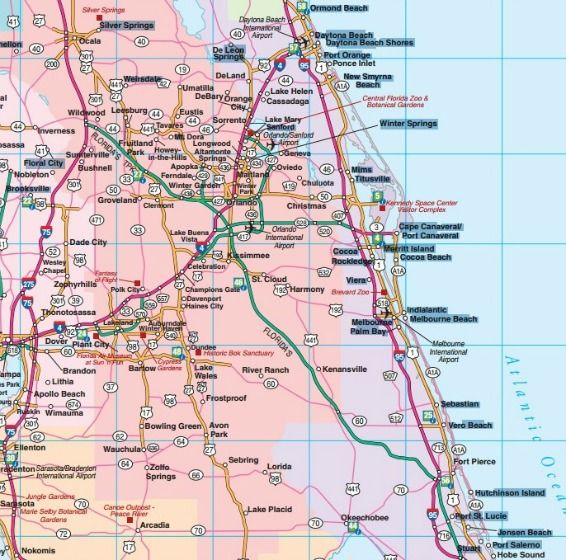 Florida Map With Towns And Cities.Central Florida Road Map Showing Main Towns Cities And Highways