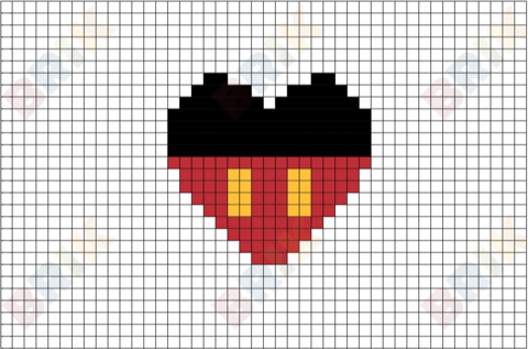 mickey mouse pixel art brik pixel art designs pinterest cross stitch stitch and craft. Black Bedroom Furniture Sets. Home Design Ideas
