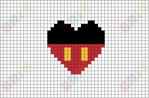 Mickey Mouse Pixel Art Pixel Art Pixel Art Grid Cross Stitch Patterns