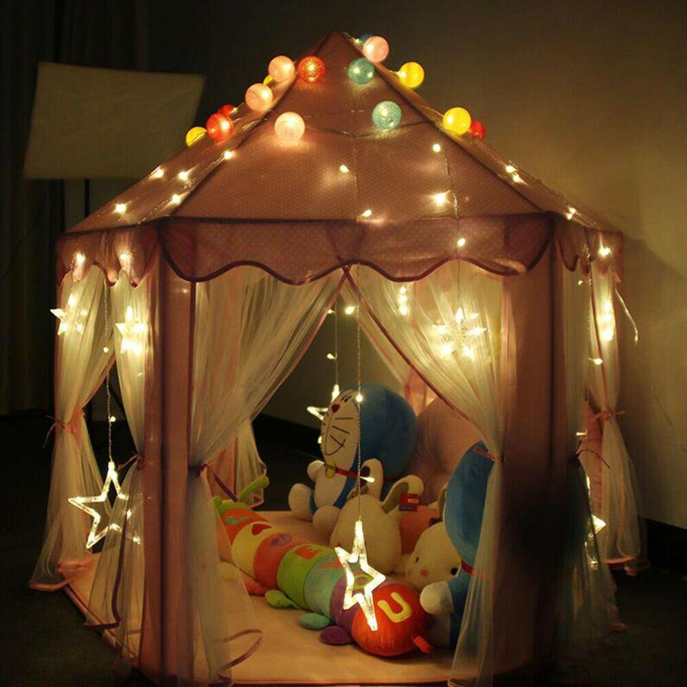 Foldable Pink Princess Castle Playhouse Tent Pop Up Indoor Fun Kids Play Room
