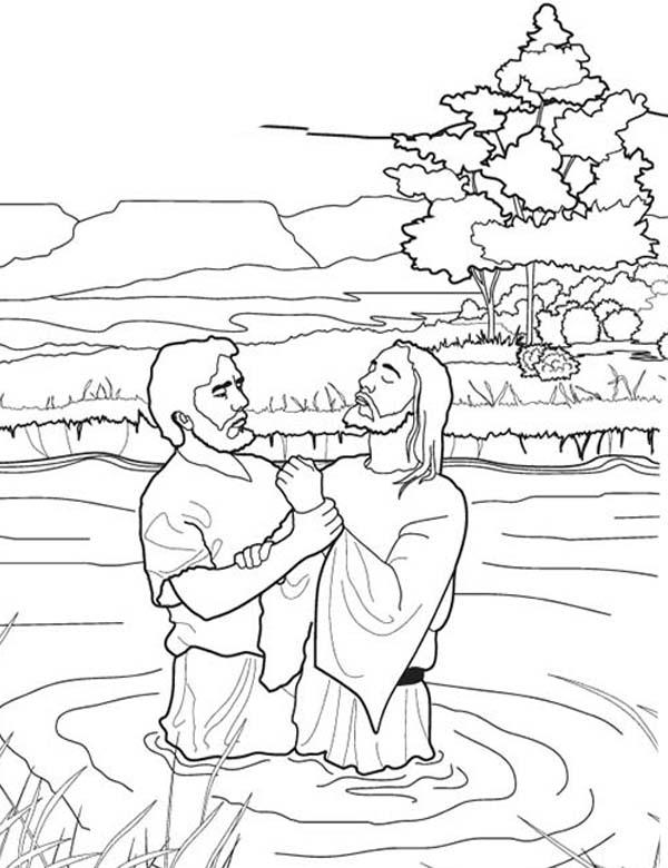 John Baptist Jesus In The River In John The Baptist Coloring Page Netart Jesus Coloring Pages John The Baptist Coloring Pages