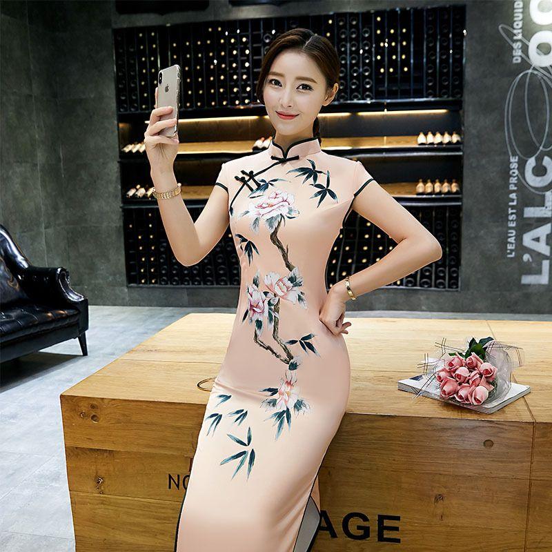2fe983ec3 Sexy-Satin-Print-Flower-Qipao-Chinese-Traditional-Lady-Mandarin-Collar- Cheongsam-Tight-Long-Dress-Plus-Size