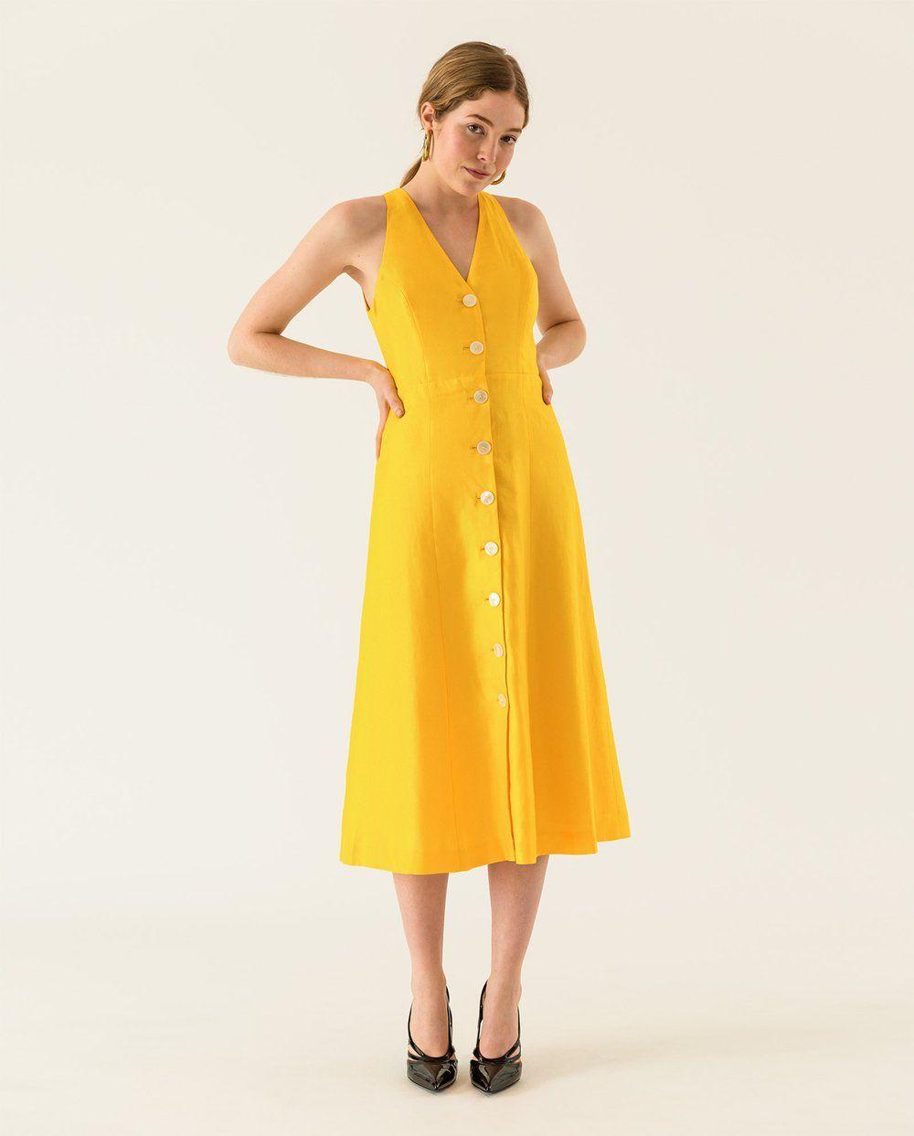 Armelloses Midi Kleid Mit Durchgehender Knopfleiste Vorne Kleid Mit Knopfleiste Kleider Knopf