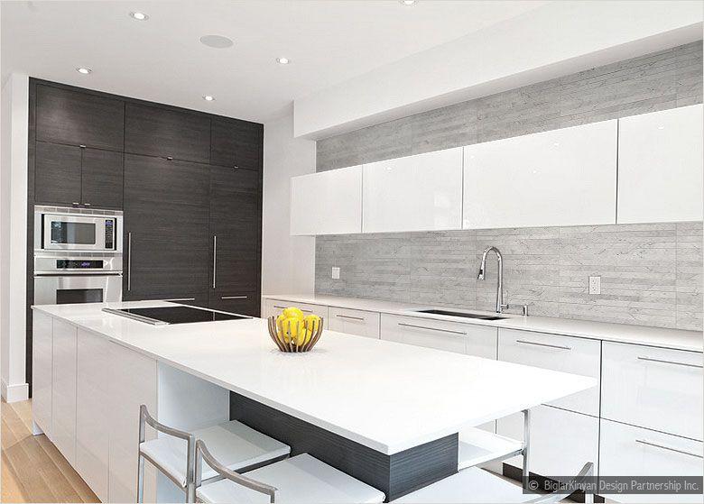 White Modern Kitchen Gray Long Subway Backsplash Tile